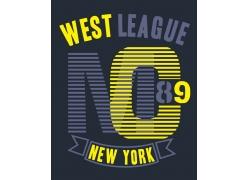 条纹字母T恤印花设计
