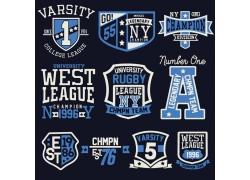 盾牌字母T恤印花设计