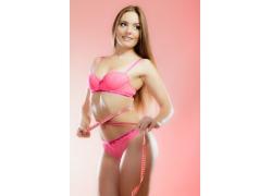 粉色内衣性感模特