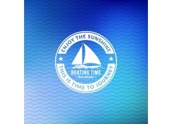 帆船商标夏日海报