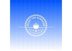 飞机五角星图标夏日海报