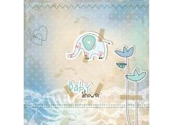 小象卡通插画图片