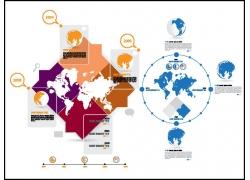 蓝色世界地图上的图标图片