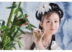 竹子与古装美女