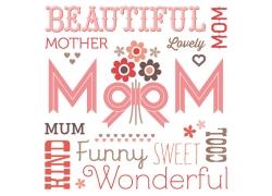 红色母亲节装饰元素