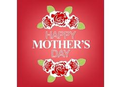 红色鲜花背景母亲节海报