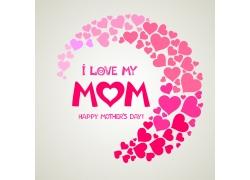 粉色心形母亲节海报