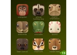 可爱森林动物卡通图标图片