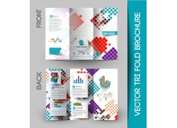彩色方块背景三折页设计图片