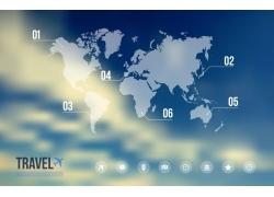 蓝色世界地图信息图表