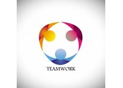彩色圆形人物模型logo设计
