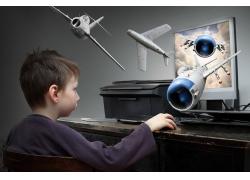 电脑里飞出来的飞机和小男孩