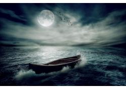 月亮与小船
