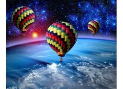 太空中飞翔的热气球