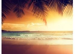 美丽沙滩黄昏风景
