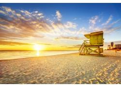 海滩黄昏夕阳风景