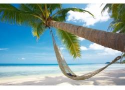 美丽沙滩吊床风景