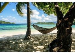 沙滩吊床风景摄影