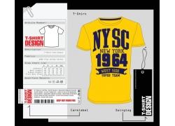黄色数字T恤印花图案