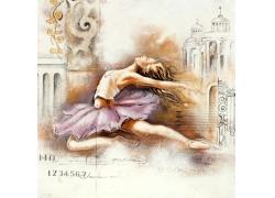 跳芭蕾的女孩油画图片