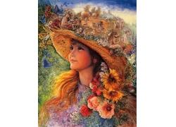 美丽的女孩油画图片