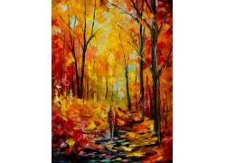 走在树林里的人物油画
