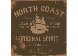 帆船英文字母印花图案
