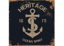 复古船锚印花图案