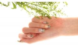 绿色植物和美甲