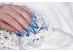 丝带和蓝色美女美甲