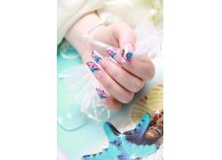 彩色花纹美女指甲