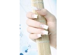 白色指甲美女手