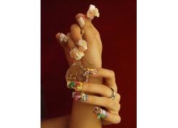 彩色花朵美女指甲
