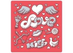 爱情英文字母印花图案