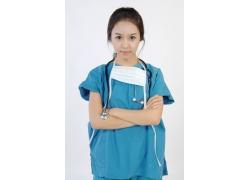 穿着蓝色衣服的护士