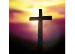 夕阳下的十字架
