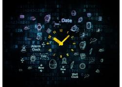 手绘时间图标背景