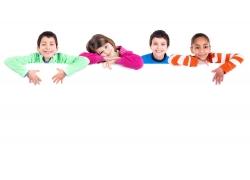 广告牌背景与小孩子