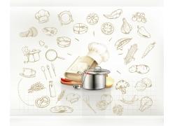 书本厨具美食图表