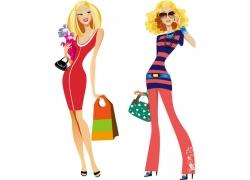 购物美女插画图片