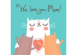 拥抱的小猫插画图片