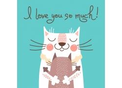 拥抱的卡通猫咪图片