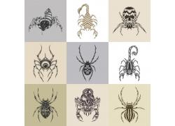 蝎子蜘蛛骷髅T恤印花