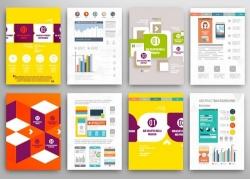 彩色商务图表宣传折页图片