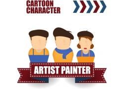 卡通画家插画图片