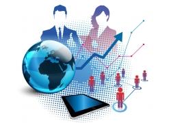 商务人物地球信息图表