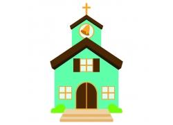卡通教堂钟楼插画图片