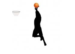 跳起来投篮的运动员