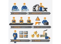 建筑工人施工信息图表