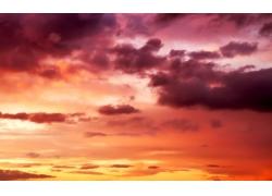 美丽火烧云天空